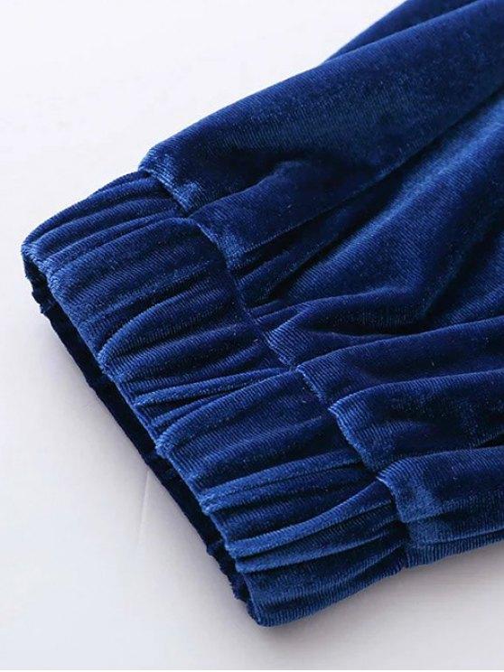 Velour Drawstring Sweatpants - GRAY S Mobile