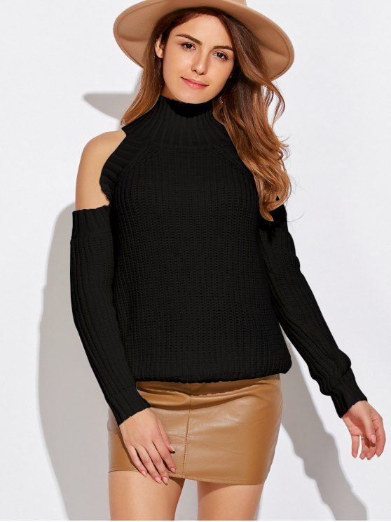 Cold Shoulder Funnel Neck Pullover Sweater - BLACK ONE SIZE Mobile