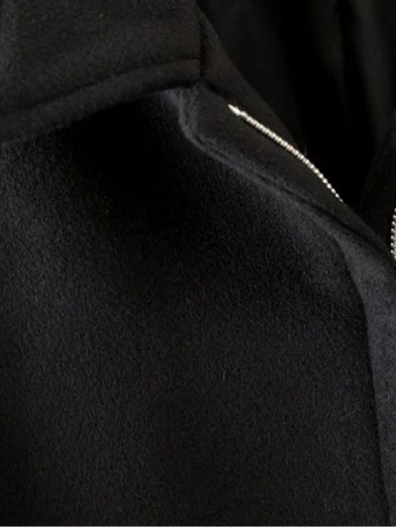 Cashmere Pentagram Print Cape Coat - BLACK S Mobile