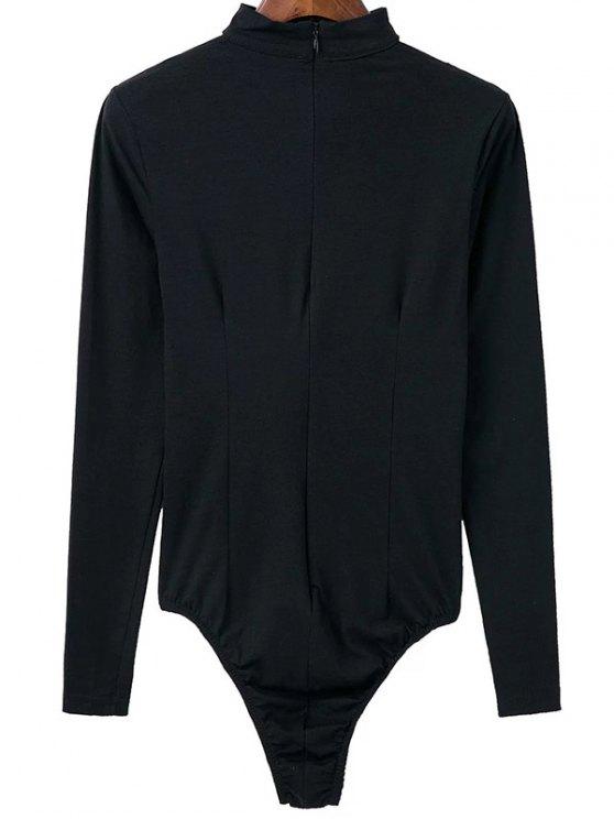 Cut Out Long Sleeve Choker Bodysuit - BLACK M Mobile