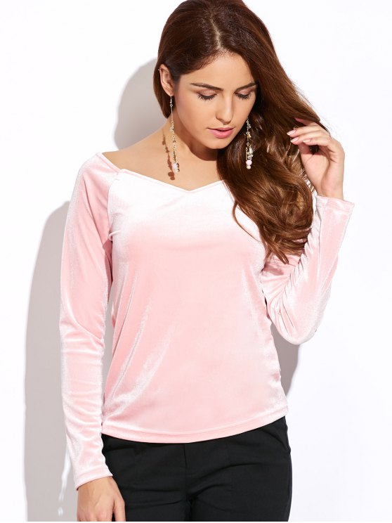 V Neck Slimming Top - PINK L Mobile
