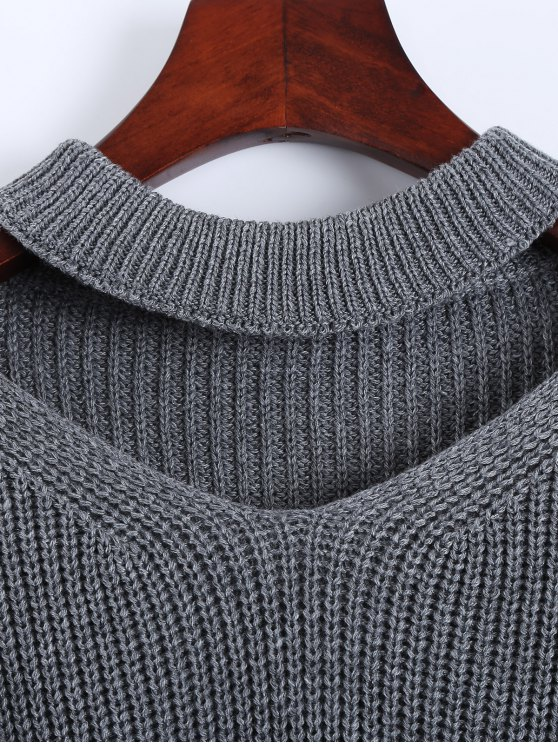 Cut Out Chunky Choker Sweater - GRAY ONE SIZE Mobile