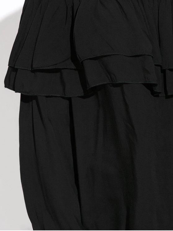 Flounce Off The Shoulder Blouse - BLACK L Mobile