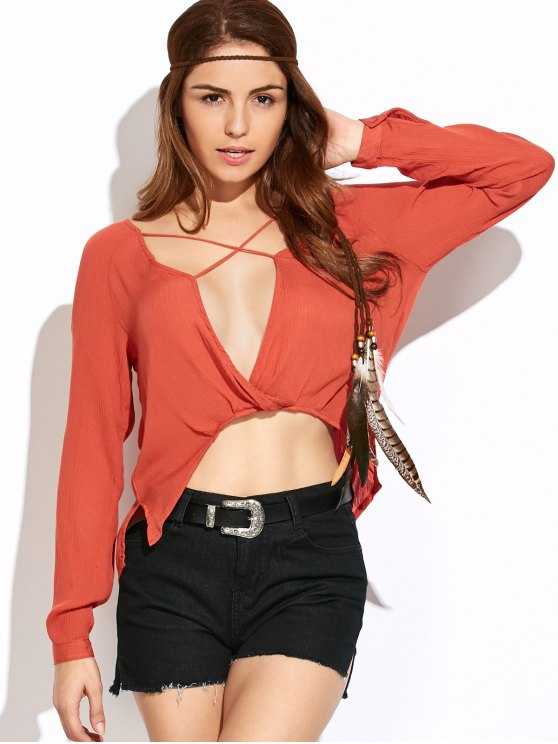 Criss Cross Asymmetric Blouse - BURNT ORANGE L Mobile