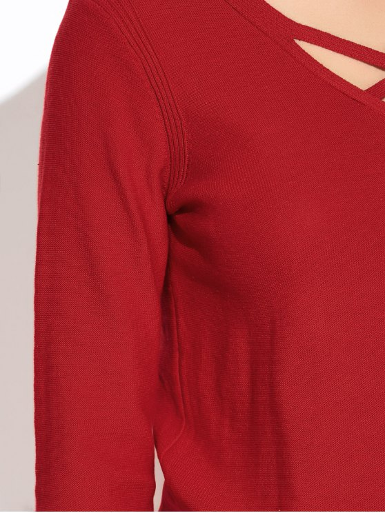 Long Loose High-Low Sweater - WINE RED L Mobile