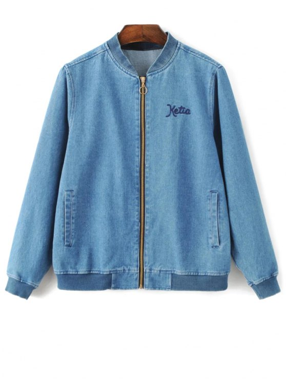 hot Floral Embroidered Denim Bomber Jacket - DENIM BLUE S