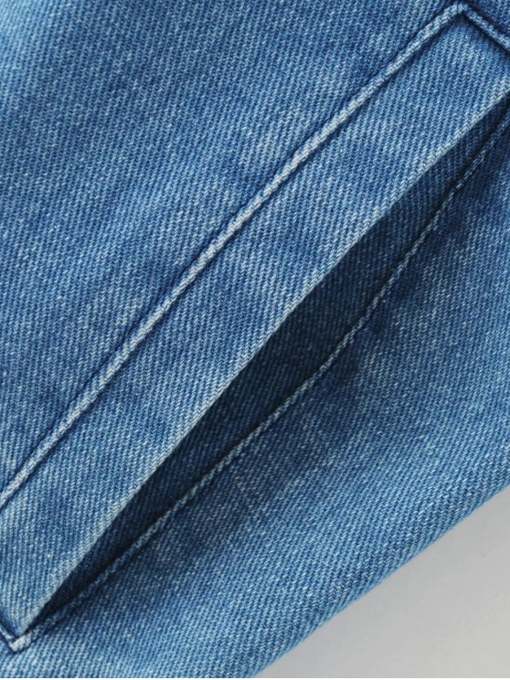 Floral Embroidered Denim Bomber Jacket - DENIM BLUE S Mobile