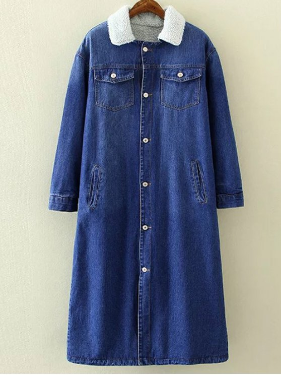 Borg Lined Maxi Sherpa Denim Coat - BLUE M Mobile