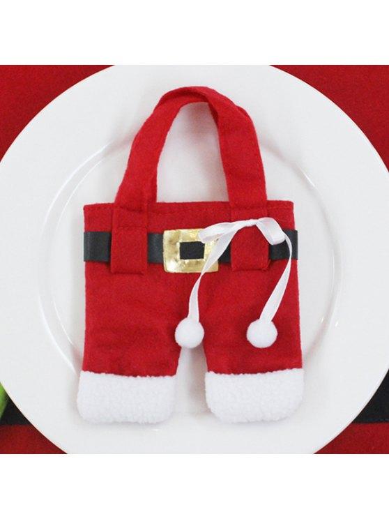 Christmas Santa Pants Tableware Holder Bag -   Mobile