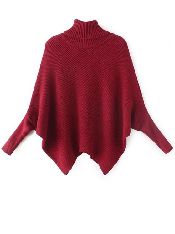 Hanky Hem Turtleneck Batwing Sweater - BURGUNDY ONE SIZE Mobile