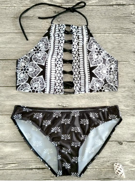 Patterned Halter Lace Up Bikini - WHITE AND BLACK M Mobile