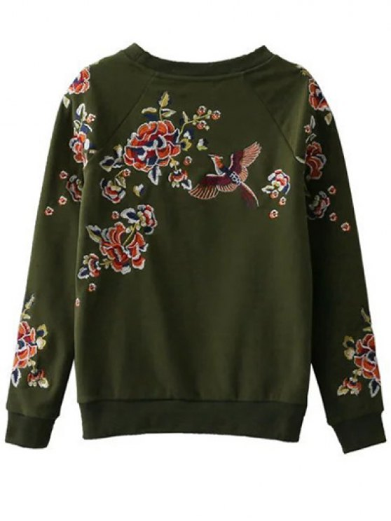 Floral Embroidered Raglan Sweatshirt - GREEN S Mobile