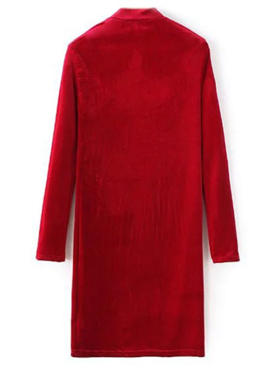 Mock Neck Long Sleeves Velvet Dress - RED L Mobile
