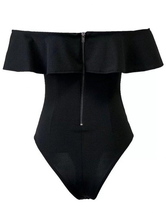 Ruffles Off The Shoulder Bodysuit - BLACK L Mobile