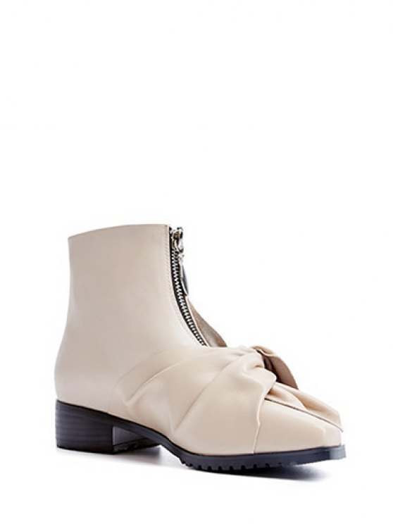 Bow Pointed Toe Zipper Ankle Boots - APRICOT 38 Mobile
