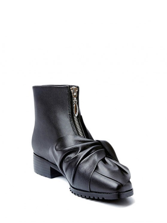 Bow Pointed Toe Zipper Ankle Boots - BLACK 39 Mobile