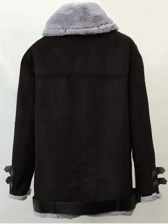 Zippers Buckles Faux Shearling Jacket - BLACK L Mobile