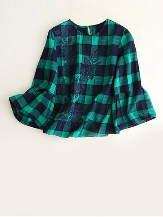 womens Bell Sleeve Embroidered Checked Blouse - BLUE AND GREEN S