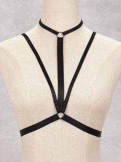 Strappy Bra Bondage Harness Body Jewelry - Black