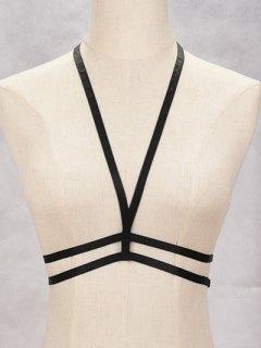 V Shaped Bra Bondage Harness Body Jewelry - Black