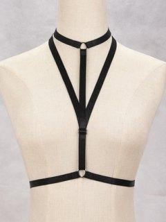 Bra Triangle Bondage Harness Body Jewelry - Black