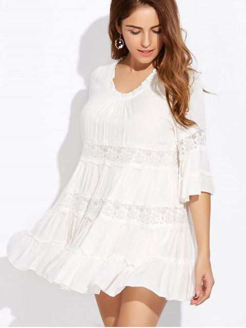 shop Lace Trim Tiered Mini Dress - WHITE ONE SIZE Mobile