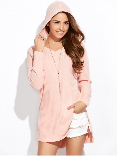 women's Side Slit Long Hoodie - PINK 2XL Mobile