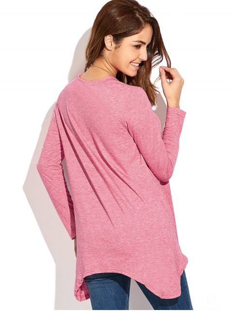 affordable Baggy Asymmetric T-Shirt - PINK XL Mobile