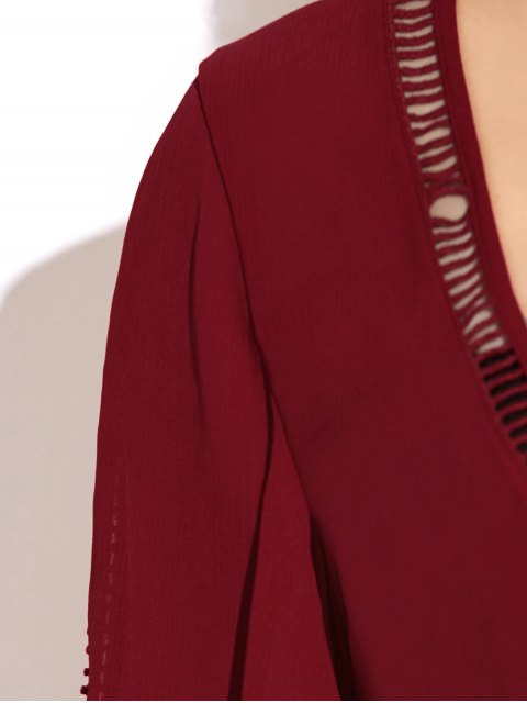 women Ladder Crochet Flare Sleeve Crop Top - RED XL Mobile