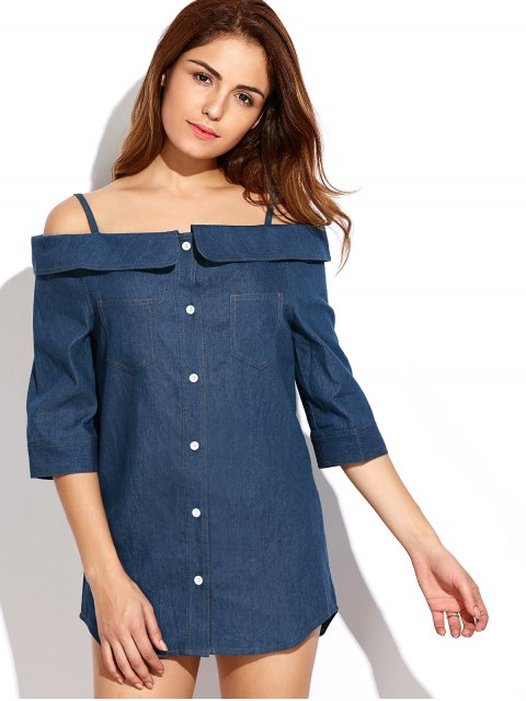latest Button Up Off The Shoulder Denim Dress - BLUE S Mobile