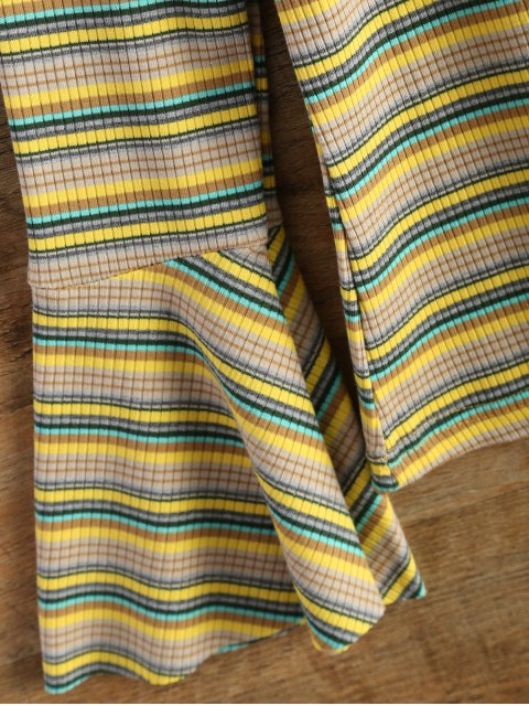 women's Stripe Design Flare Sleeve Knitwear - YELLOW ONE SIZE Mobile