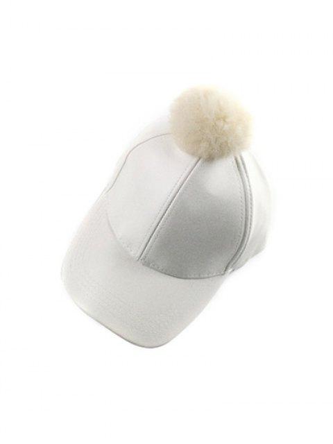 buy Hip Hop Faux Leather Pompom Baseball Hat - WHITE  Mobile