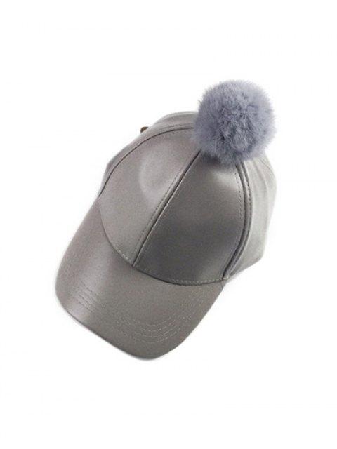 womens Hip Hop Faux Leather Pompom Baseball Hat -   Mobile