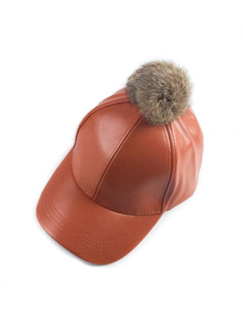 lady Hip Hop Faux Leather Pompom Baseball Hat - PEARL KUMQUAT  Mobile