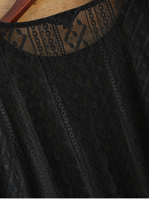 trendy Bell Sleeve Sheer Lace Top - BLACK M Mobile