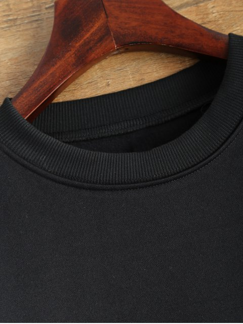 womens Letter Pattern Jewel Neck Sweatshirt - BLACK M Mobile