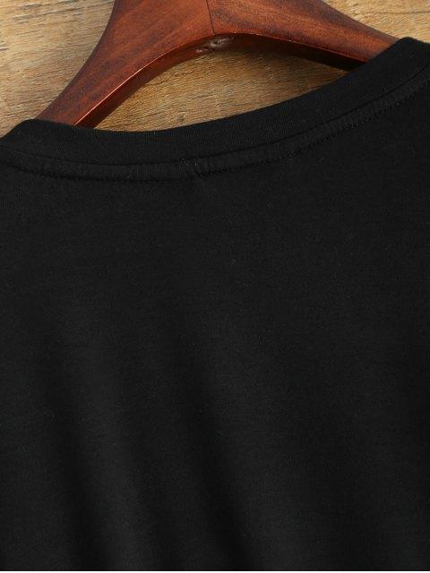 fancy Gloved Sleeve Uneven Hem T-Shirt - BLACK 2XL Mobile