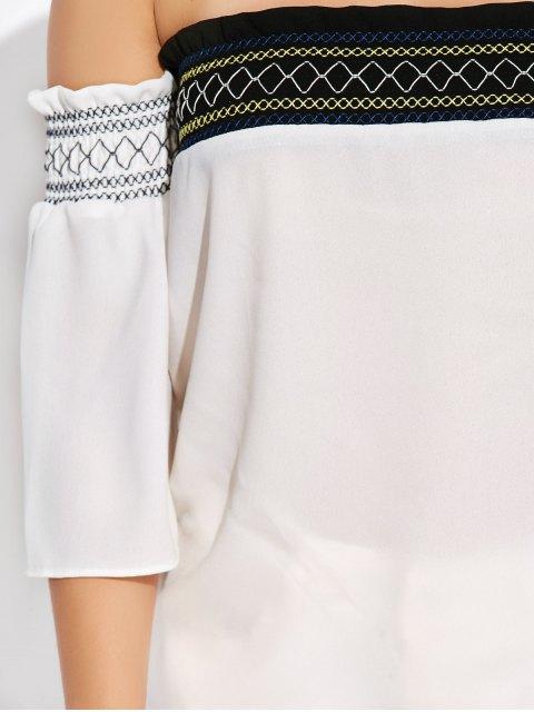 trendy Off Shoulder Tunic Blouse - WHITE L Mobile