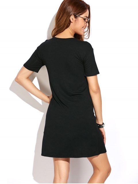 lady High Slit Graphic Long T-Shirt - BLACK L Mobile