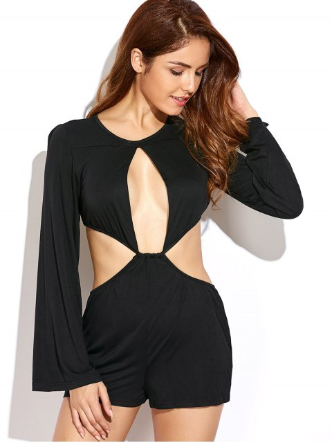 best Flare Sleeve Cut Out Romper - BLACK L Mobile