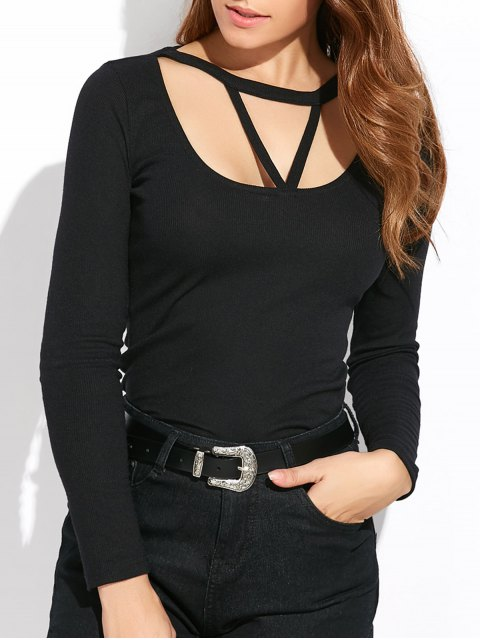 fancy Scoop Neck Strappy T-Shirt - BLACK XL Mobile