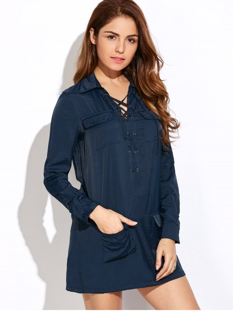 trendy Loose Pockets Lace-Up Dress - BLUE 2XL Mobile