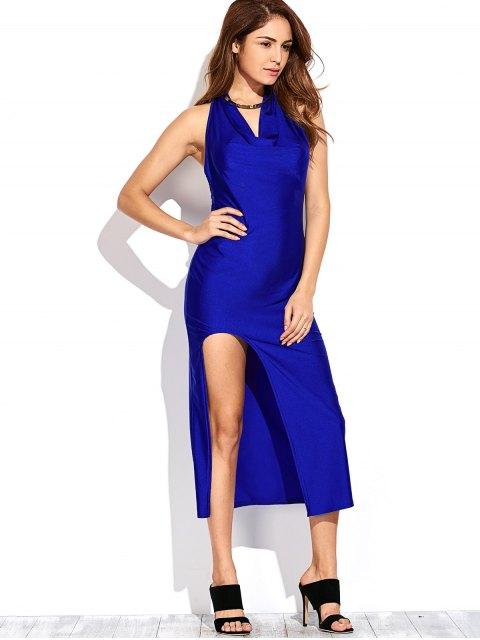 shops High Slit Draped Maxi Prom Dress - SAPPHIRE BLUE L Mobile