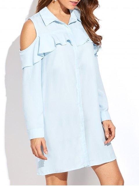 hot Cold Shoulder Ruffled Shirt Dress - LIGHT BLUE XL Mobile
