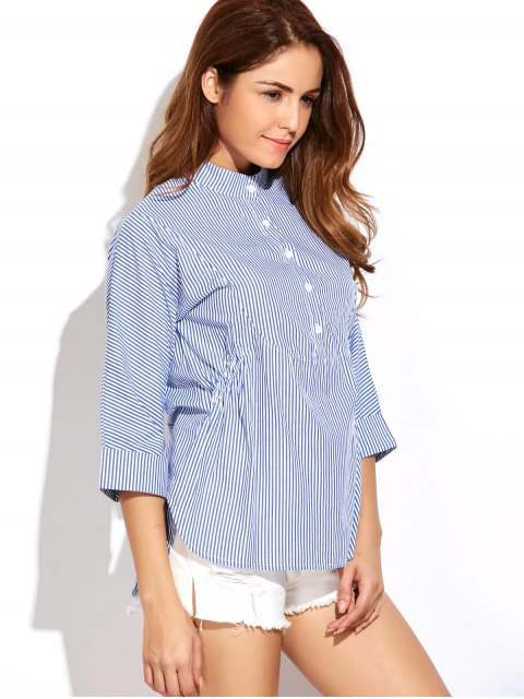 hot Striped Buttoned Oversized Blouse - BLUE AND WHITE 2XL Mobile