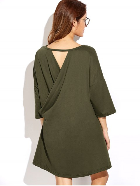 women's Dropped Shoulder Relaxed Tunic Dress - ARMY GREEN L Mobile