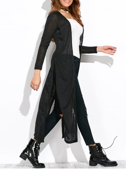 affordable Open Stitch Side Slit Duster Cardigan - BLACK L Mobile