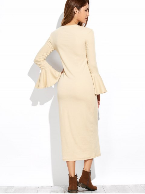 chic Bell Sleeve Midi Pencil Dress - APRICOT S Mobile
