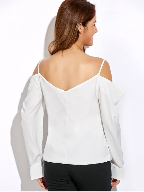latest V Neck Cold Shoulder Long Sleeves Top - WHITE XL Mobile