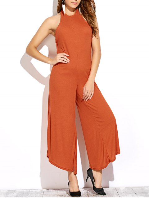 outfit Backless Halter Flared Jumpsuit - DARKSALMON S Mobile